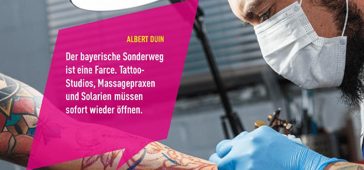 DUIN fordert sofortige Öffnung von Tattoo-Studios, Massagepraxen und Solarien: Bayerns Sonderweg ist eine Farce